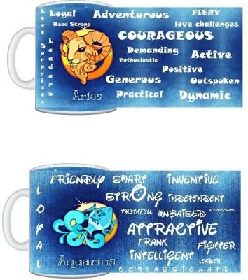 CreativesKart Zodiac Aries (M) Aquarius (F) Compatibility  Ceramic Mug
