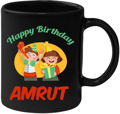 HuppmeGift Happy Birthday Amrut Black  (350 ml) Ceramic Mug