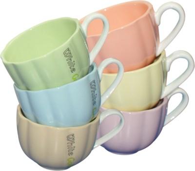 White Gold 8061-6 Multicolor Cups Set Porcelain Mug