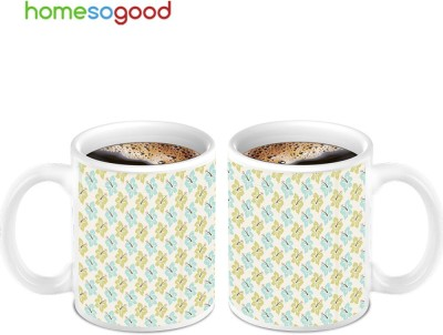 HomeSoGood White Magic With Green Flowers (2 s) Ceramic Mug