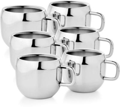 Raj Double wall Steel Appel Tea Cup set of 6 Stainless Steel Mug