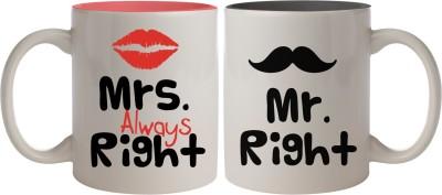 Nourish Mr Right & Mrs Always Right Ceramic Mug(325 ml, Pack of 2)