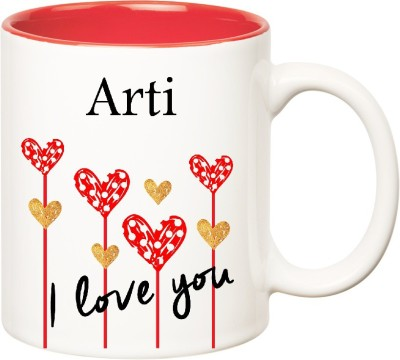 Huppme I Love You Arti Inner Red  (350 ml) Ceramic Mug