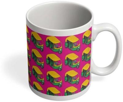 PosterGuy Kitsch Auto Wala Rickshaw, Pink, Kitsch, Quirky, Handpainted, Pattern, India Ceramic Mug