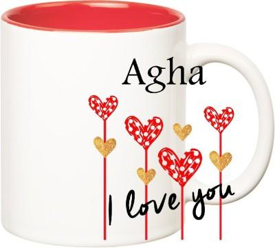 Huppme I Love You Agha Inner Red  (350 ml) Ceramic Mug