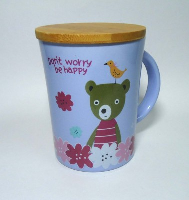 Gutargoo Don,T Worry Be Happy With Wooden Lid Ceramic Mug