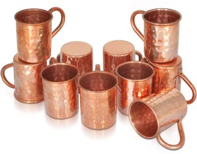 Dungri India Craft Set of 10, 100 % Hammered 70 ML / 2.3 oz SHOT Moscow Mule Vodka  - Cocktail SHOT MUG Copper Mug