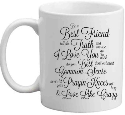 Jiya Creation1 Nice Fonts White Ceramic For Friends Ceramic Mug