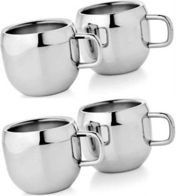 Bosky Double Wall Apple Set of 4 Stainless Steel Mug(150 ml, Pack of 4)
