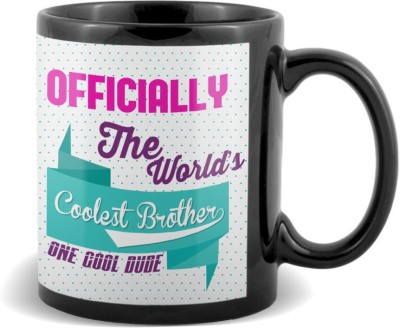 SKY TRENDS GIFT Officially The World's Coolest Brother One Cool Dude Stylish Gifts For Birthday And Anniversary Black Coffee Ceramic Mug