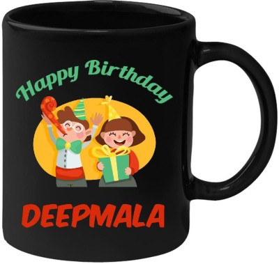 HuppmeGift Happy Birthday Deepmala Black  (350 ml) Ceramic Mug