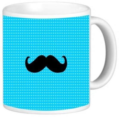 Rikki Knight LLC Knight Photo Quality Ceramic Coffee , 11 oz, Mustache on Blue Dots Ceramic Mug