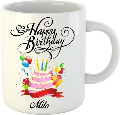 Huppme Happy Birthday Milo White  (350 ml) Ceramic Mug