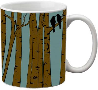 Romanshopping Tree Bird  Bone China Mug