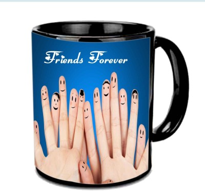 Jiya Creation1 Friends Forever with hands smilies Multicolor Ceramic Mug