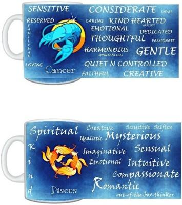 CreativesKart Zodiac Cancer (M) Pisces (F) Compatibility  Ceramic Mug