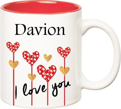 Huppme I Love You Davion Inner Red  (350 ml) Ceramic Mug