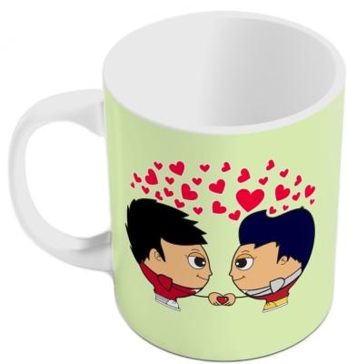 Indiangiftemporium Designer Romantic Green Coffee  Pair 813 Ceramic Mug