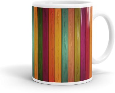 Heartzy Beautiful Multicolor Wood Pattern  Ceramic Mug
