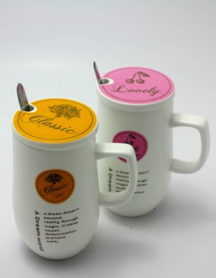 Importwala Classic Lovely coffee/Milk s with Lid and spoon-Set of 2 Ceramic Mug