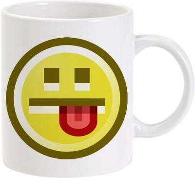 Lolprint Smiley Face Sticking Tongue Out Ceramic Mug