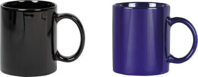 CreativesKart Glossy Black N Indigo Blue  Ceramic Mug