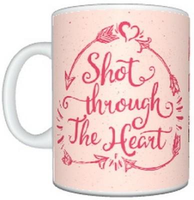 CreativesKart Valentine Shot Through The Heart Ceramic Mug