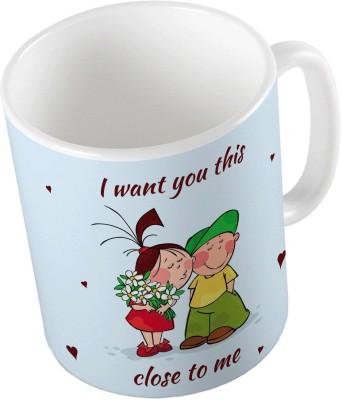Indiangiftemporium Blue Designer Romantic Printed Coffee  702 Ceramic Mug