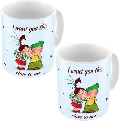 Home India Blue Designer Romantic Printed Coffee s Pair 702 Ceramic Mug