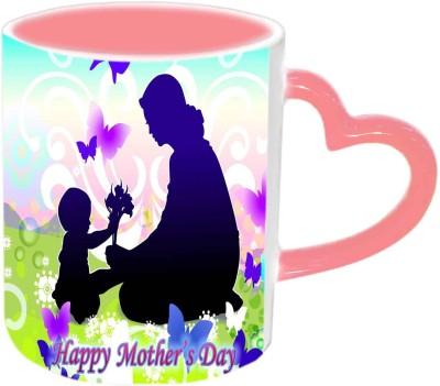 Jiya Creation1 Mother & Cute baby wallpaper Happy Mother's day Pink Heart Handle Ceramic Mug