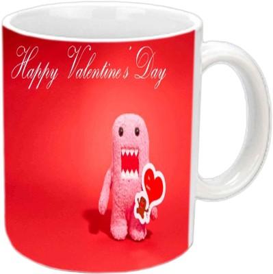 Jiya Creation Valentine Heart Spongy White  Ceramic Mug