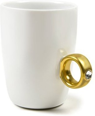 Fred & Friends & Friends 2-CARAT CUP Solitaire Ring , Gold Ceramic Mug
