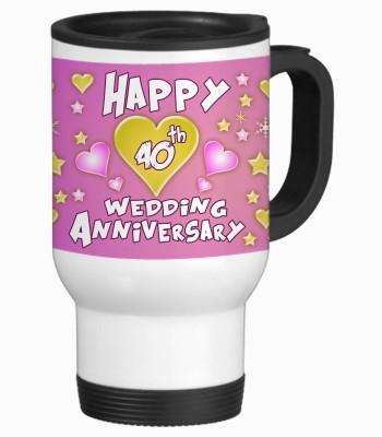 Sajawat Homes 40th Happy Anniversary White Travel Stainless Steel Mug