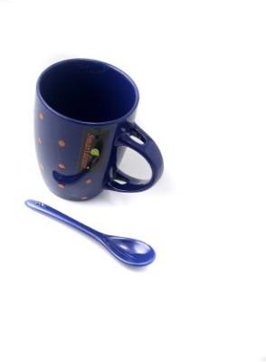 Pratha Polka Dot Blue With Spoon Ceramic Mug