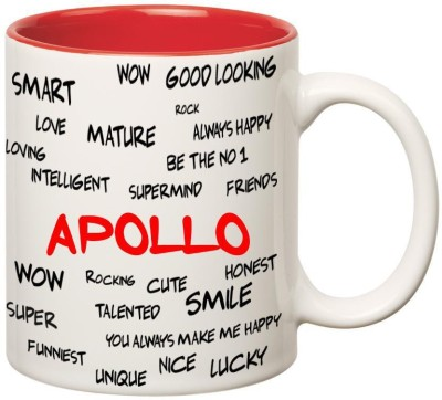 Huppme Good Personality Apollo Inner Red Ceramic Mug(350 ml)
