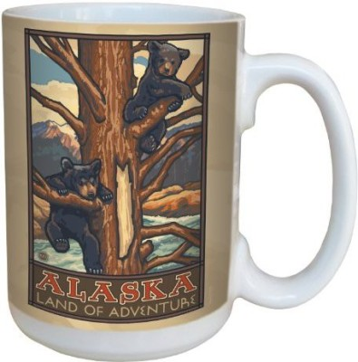 Tree-Free Greetings Greetings lm43109 Vintage Alaska Bear Cubs by Paul A. Lanquist Ceramic  with Full-Sized Handle, 15-Ounce, Multicolored Ceramic Mug