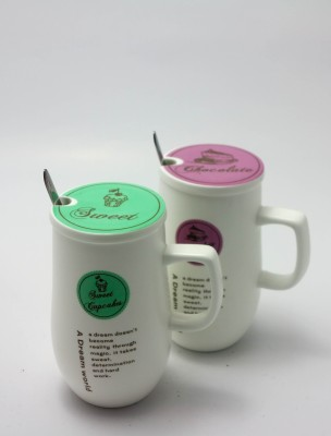 Importwala Sweet Chocolate coffee/Milk s with Lid and spoon-Set of 2 Ceramic Mug