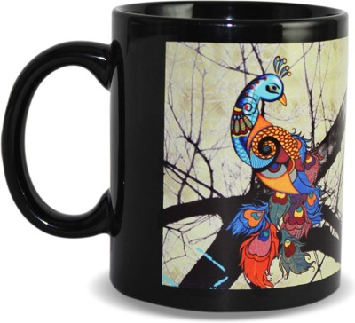 Kolorobia Graceful Peacock Black Ceramic Mug