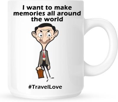 Huppme Travel Love Mr Bean White  Ceramic Mug