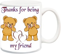 IZOR Gift for /Boyfriend/Girlfriend On Valentine's Day;Thank You For Being My Friend With Two Brown Teddy Bear And Heart Printed Ceramic Mug