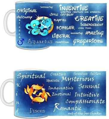CreativesKart Zodiac Aquarius (M) Pisces (F) Compatibility  Ceramic Mug