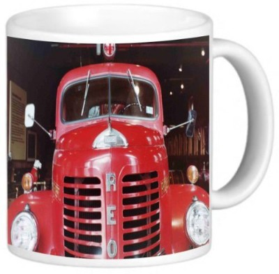 Rikki Knight LLC Knight Photo Quality Ceramic Coffee , 11 oz, Fire Truck Ceramic Mug