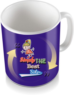 SKY TRENDS GIFT Simply The Best Sister,, White Coloring Design Arrow Abstract Gifts For Rakshabandhan Coffee Ceramic Mug