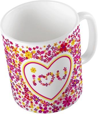 Indiangiftemporium Pink Designer Romantic Print Coffee  685 Ceramic Mug