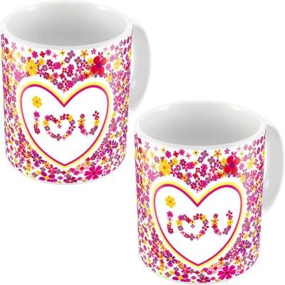 Little India Pink Designer Romantic Print Coffee s Pair 685 Ceramic Mug