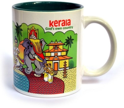 Indiavibes Coffee & Tea Kerala Theme Printed Ceramic Ceramic Mug