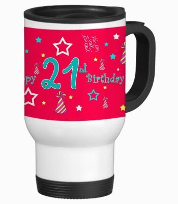 Sajawat Homes 21st Happy Birthday White Travel Stainless Steel Mug