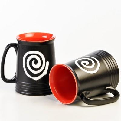 cultural concepts Spiral Red N Black Beer s - Set of 2 Ceramic Mug