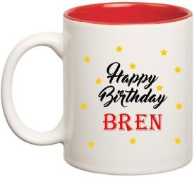 Huppme Happy Birthday Bren Inner Red Ceramic Mug(350 ml)