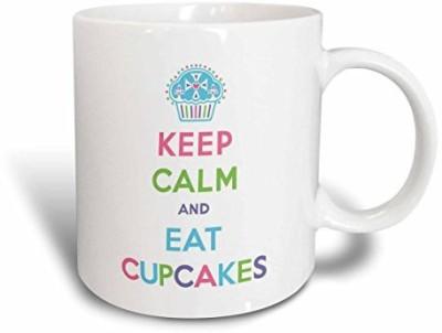 3dRose mug_159618_1 Keep Calm and Eat Cupcakes, Dessert, Frosting Ceramic , 11-Ounce Ceramic Mug